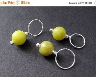 BACK to SCHOOL SALE Jade Stitch Markers in Green Jade and Silver - 10mm Size. Handmade Stitch Markers by Gilliauna