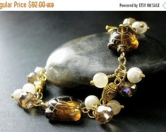 BACK to SCHOOL SALE Amber Turtle Bracelet. Tortoise Bracelet with Amber Glass Turtles. Pearl Bracelet. Crystal Bracelet. Gemstone Bracelet.