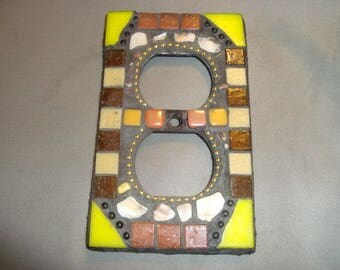 MOSAIC Electrical Outlet COVER , Wall Plate, Wall Art, Yellow, Brown, Beige