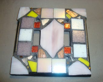 MOSAIC LIGHT SWITCH Plate Cover - Double, Wall Plate, Wall Art, Stained Glass Chips, Lavender, White, Gold, Red, Glittery