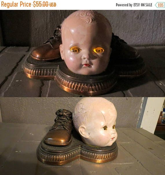 ON SALE Creepy Doll Head Light Up Halloween Decoration, Battery Operated  Upcycled Doll Head,