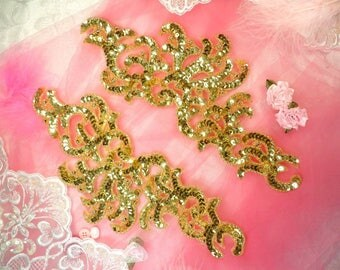 "Sequin Appliques Gold Mirror Pair w/ Beads Dance Costume Motif Patch Sewing or Crafts DIY 11"" (0515X-gl)"