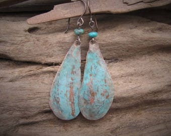 Copper Earrings Natural Turquoise