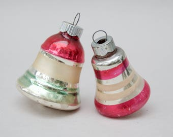 2 Vintage Christmas Glass Ornaments . Bell Glass Christmas Ornaments . Shiny Brite . Strips . Mid Modern Ornaments