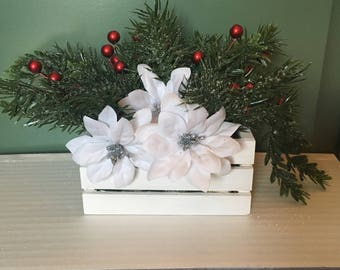 Mini Evergreen Display, 18-in doll scale, Christmas floral