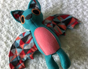 Teal Bat Plush, Bat Toy, Stuffed Bat, Black and Purple Bat