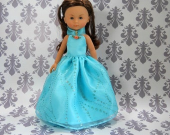 13 inch doll clothes made to fit dolls such as Corolle Les Cheries doll clothes, Light Turquoise Princess Fancy Gown Dress, 05-2120