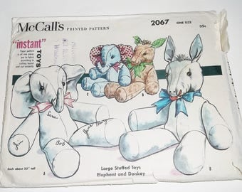 Original Vintage 1956 McCall's Instant LARGE STUFFED TOY Pattern 2067 • Elephant and Donkey