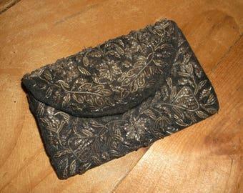 Vintage Black Corded Velvet Coin Pocket • Made in India