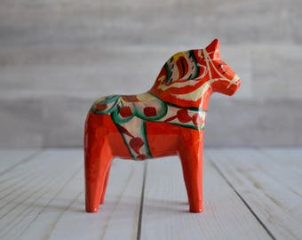 "Vintage Dala Horse Figurine NILS OLSSON Hand Painted Orange Swedish Wooden Horse 4"" Tall Smaller Sized"