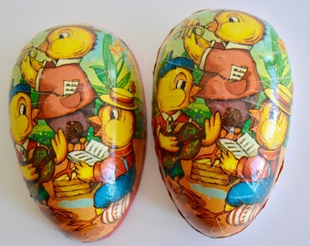Vintage Paper Mache Easter Egg Candy Container Western Germany Baby Chicks Band