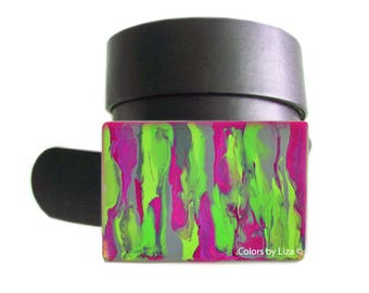 Fuchsia Belt Buckle with Lime Green and Grey Combination Hand Painted Enamel an Art Piece for Snap Belts  with Custom Colors Available