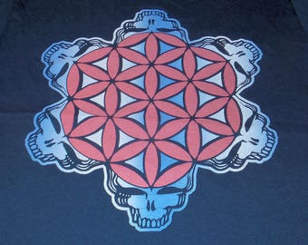 T-Shirt - 2-Color Stealie of Life (Red/White Blue Fade on Navy)