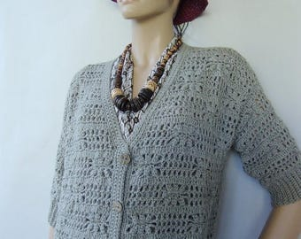 ON SALE Alpaca Cardigan, Crochet Cardigan, Gray Cardigan, Cardigan Women, Cardigan Sweaters, Crochet Tops, Gift for Her, Available in sizes
