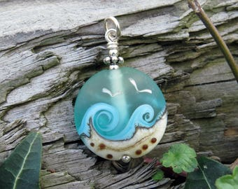 """Pendant """"BEACH-FANTASY IV"""" - hand-crafted lampwork bead, sterling silver - one of a kind!"""
