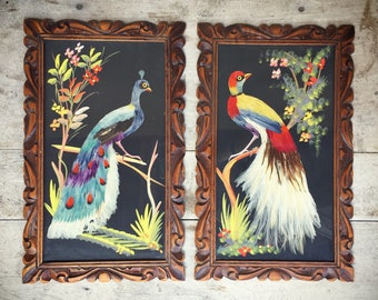 Vintage Mexican feather art birds in ornate wooden frames real feather paintings arteplumeria