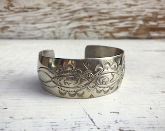 "Vintage stamped sterling silver cuff Old Pawn 7/8"" wide bracelet Southwestern jewelry"