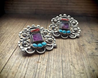 Vintage Taxco earrings Mexican Jewelry MATL Style Amethyst Turquoise December Birthday