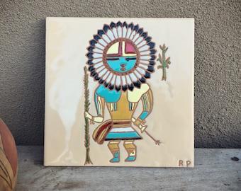 Ceramic Tile Trivet Kachina Spirit Southwestern Decor, Tile Art, Native Design Ceramic Tiles