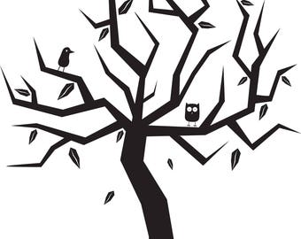 Abstract Vector Tree T4-Digital ClipArt-Halloween Tree-Digital-Outside-Gift Tag-Notebook-Scrapbook-banner-background-gift card.