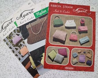 trio of vintage pattern booklets for knit and crochet bags and accessories
