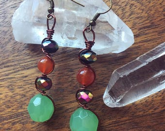 SALE! Green Aventurine Wire Wrapped Beaded Earrings