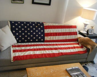 vintage OLD AMERICAN FLAG, tea stains from age, naturally antiqued 4 x 6 foot large flag