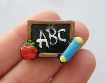 4 Chalk board charms black tone PT145