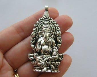 1 Elephant Ganesha pendant antique silver tone R151