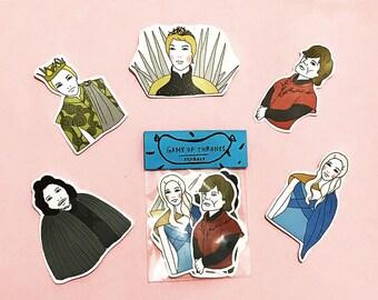 GAME OF THRONES Sticker Pack -Set of 7 - Vinyl Stickers - Hand Drawn Sticker - Handmade Sticker - Game of Thrones Sticker