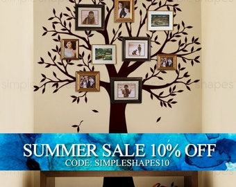 Narrow Family Tree Decal - Photo Frame tree Decal - Tree Wall Sticker