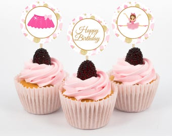 Ballet Cupcake Toppers, Ballerina Birthday Party, Ballet Recital Cupcake Toppers, Instant Download