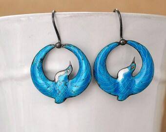 vintage find laurel burch 70s sterling silver love birds enamel earring, blue dove earrings, dangler earrings, bird in paradise