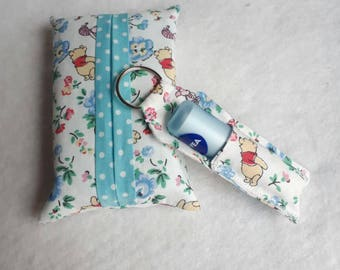 Handmade Pocket Tissue & Lip Balm/Lipstick Holder set - Winnie the Pooh x CATH KIDSTON fabric, tissue holder lined with blue Spotty Fabric