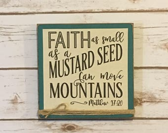 Matthew 17:20,Bible Verse Wall Art,Scripture Wall Art,Christian Art,Religious Wall Art,Christian Gift,Rustic Sign