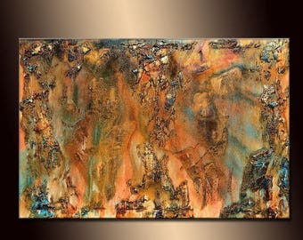 Original Textured Modern Large Abstract Metallic Thick Texture Gallery Canvas Contemporary Fine Art