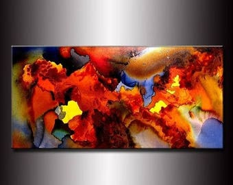 Original Modern Abstract Painting ,Canvas art ,Contemporary Fine Art by Henry Parsinia Large 48x24