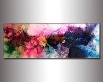 ORIGINAL Modern Abstract Painting ,contemporary fine art ,colorful canvas art by Henry Parsinia ,ready to hang 48x18