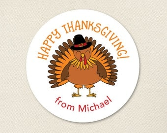 Thanksgiving Stickers - Happy Thanksgiving Turkey - Sheet of 12 or 24