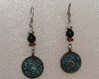Silver tone and Turquoise Inlay Earrings