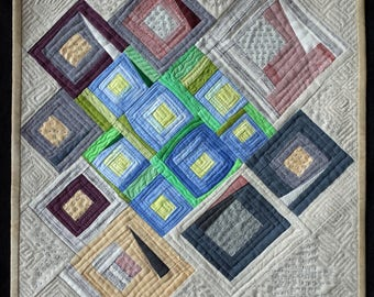 Art quilt, abstract quilt, wall hanging, wall decor- Song of Linen