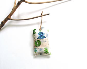 Pine sachet, winter hanging sachet, pine cinnamon sachet ornament, lime green blue, large sachet gift under 10, closet freshener