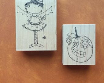Set of Two - Witch Girl and Jack O' Lantern Stamps