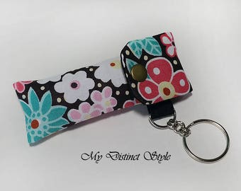 Fabric Lip Balm Holder with Keyring, Lip Balm Cozy, Chapstick Holder, Bridesmaid Gift