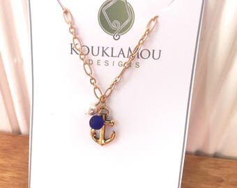 Antique gold anchor necklace