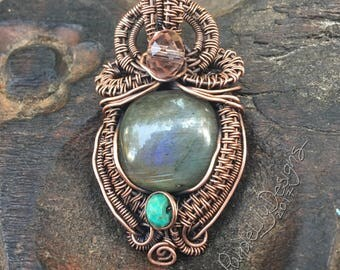 Majestic, Copper, Labradorite, Turquoise, and Crystal pendant, ThePurpleLilyDesigns
