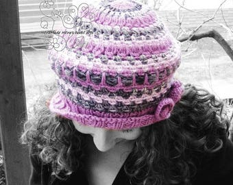 Pink beret hat, slouchy hat, womens hat, beanie hat, crochet hat, stripy, wool, warm, fairy, rustic knit, feminine, bohemian clothing