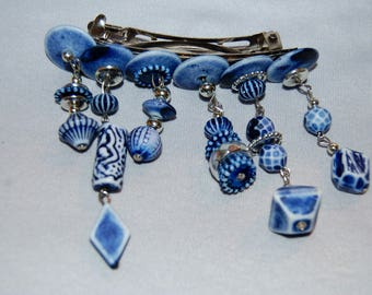 Vintage / Large / Barrette / Blue / White / Beads / Silver tone / old jewelry / jewellery