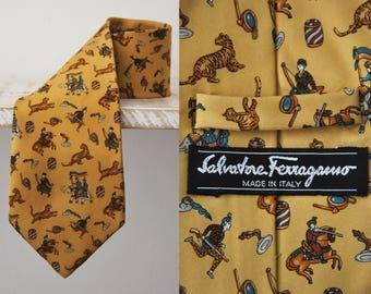 SALVATORE FERRAGAMO Tie Pure Silk Ancient Character Hindu scenes Repeat Pattern yellow Vintage Designer Dress Necktie Made In Italy
