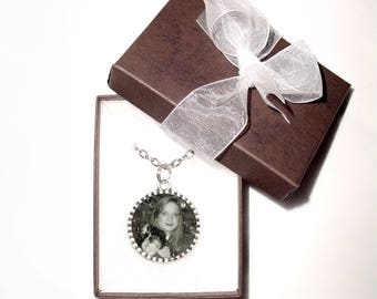 "Double-sided Necklace Pendant Antiqued Silver Memorial Charm with 2 Photos of Your Choice Round 24"" Chain -  FREE SHIPPING"